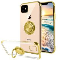 Ownest Compatible with iPhone 11 Case with Built-in 360 Rotatable Ring Kickstand Fit Magnetic Car Mount and Clear Slim TPU for iPhone 11(6.1 Inch)-(Gold)