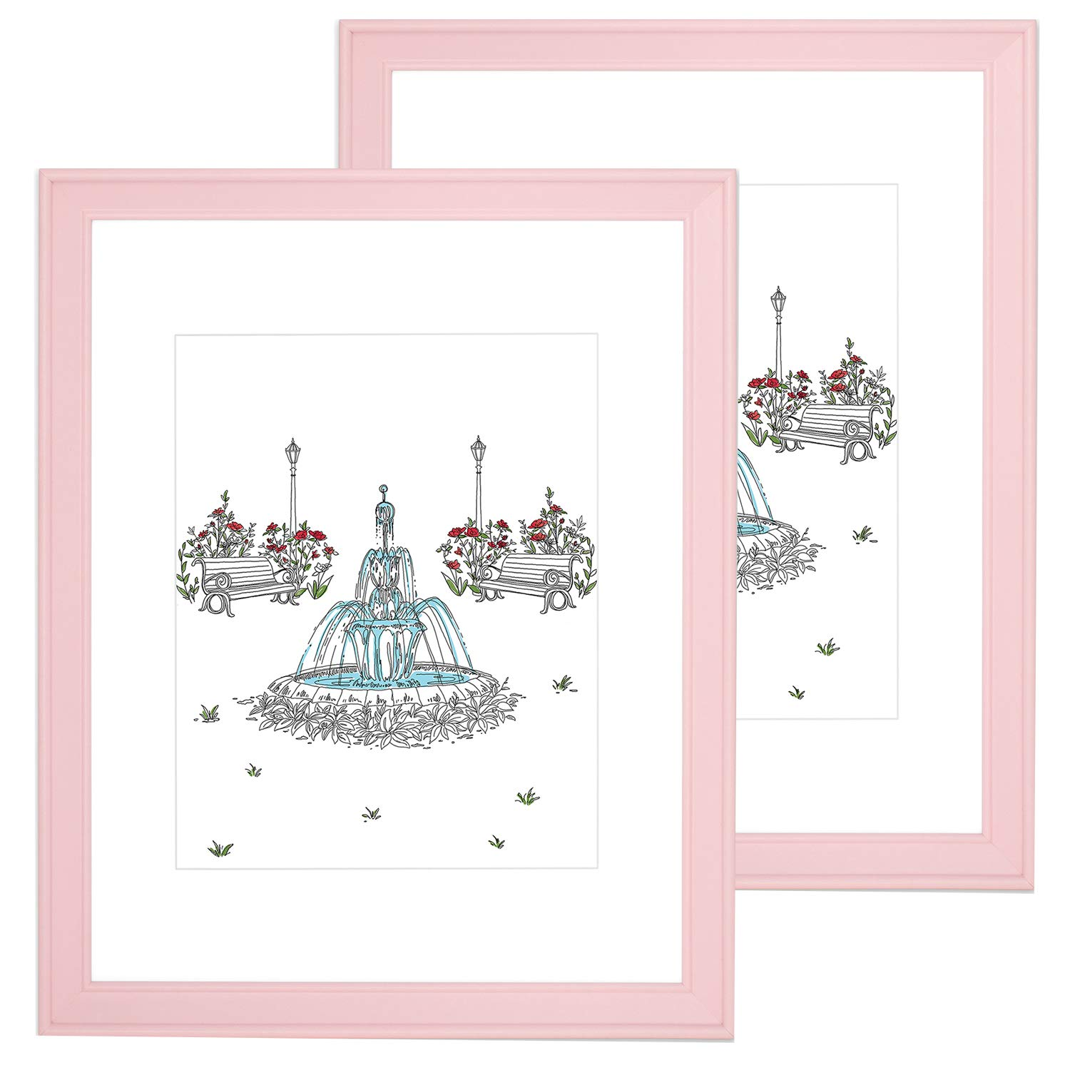 EDGEWOOD 2-Pack Wood Real Glass Flat Picture Frame Matted to 5x7 Matted to for Wall or Tabletop Photo, 8x10, Blush Pink