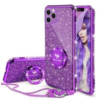 OCYCLONE iPhone 11 Pro [5.8 inch] Case, Not iPhone 11 [6.1 inch] Case, Glitter Luxury Bling Diamond Bumper with Ring Grip Kickstand Protective Thin Girly Pink Case for iPhone 11 Pro [5.8 inch], Purple