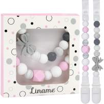 Liname Silicone Pacifier Clip for Girls - 2 Pack Gift Packaging - Premium Quality & Unique Design - Pacifier Clips Fit All Pacifiers & Soothers - Perfect Baby Gift
