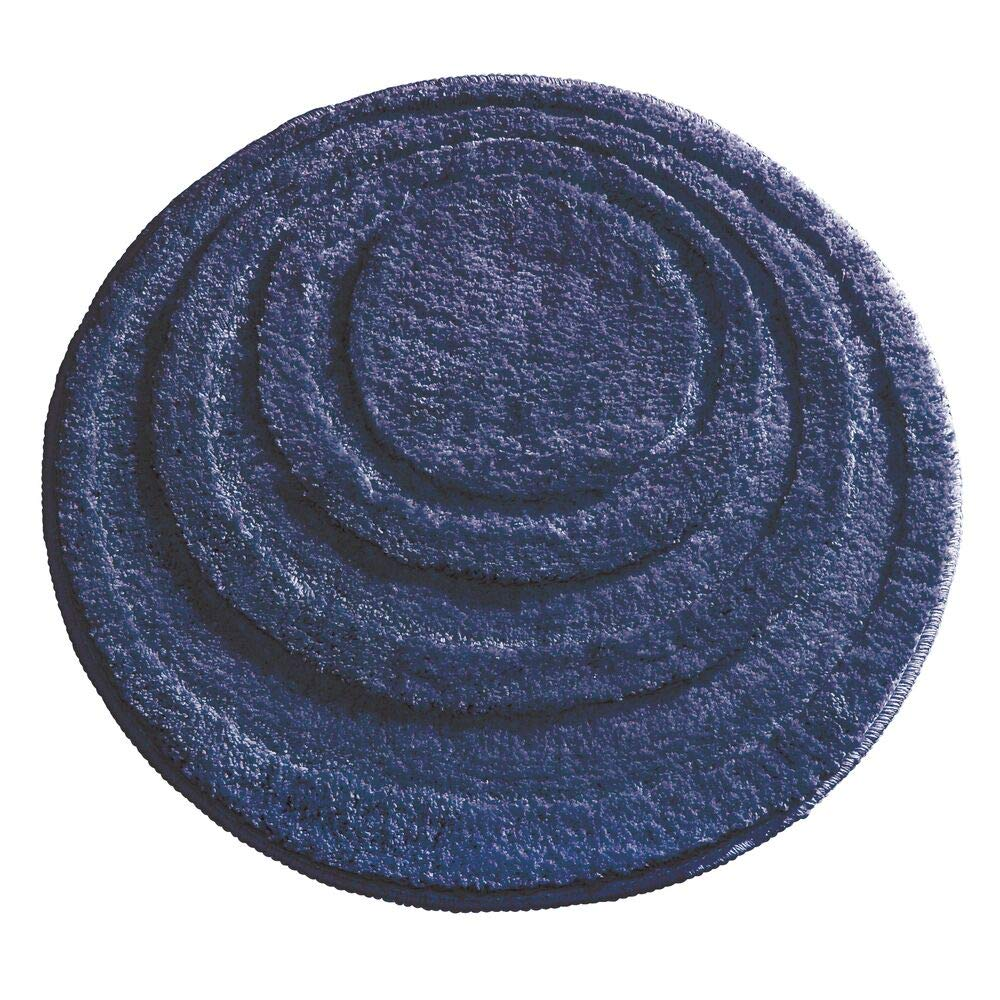 """mDesign Soft Microfiber Polyester Non-Slip Round Spa Mat, Plush Water Absorbent Accent Rug for Bathroom Vanity, Bathtub/Shower - Concentric Circle Design, Machine Washable - 24"""" Diameter - Navy Blue"""