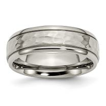 ICE CARATS Titanium 7mm Grooved Edge Hammered Wedding Ring Band Fancy Fashion Jewelry for Women Gift Set