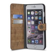 Cork Wood Wallet Case Compatible with iPhone 6/6s - Natural Cork Leather Exterior, Eco-Friendly Design by Reveal Shop