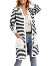 Womens Striped Cardigans Long Sleeve Button Down Open Front Sweater with Pockets