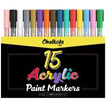 Acrylic Paint Pens for Rock Painting, Stone, Ceramic, Glass, Wood, Canvas - Set of 15 Colors, Fine Tip Water Based Paint Markers