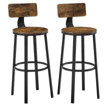 VASAGLE Bar Stools, Tall Bar Chairs with Backrest, Set of 2 Kitchen Stools, Heavy-Duty Steel Frame, 28.8-Inch High, Easy Assembly, Industrial, Rustic Brown and Black ULBC026B01