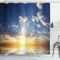 """Ambesonne Mystic Shower Curtain, Sunset Reflection on The Sea View with Sun Rays Vivid in The Horizon Image, Cloth Fabric Bathroom Decor Set with Hooks, 75"""" Long, Yellow Brown"""