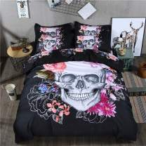 Skull Bedding Duvet Cover Queen 3D White Skull Pink Floral Pattern Printed Bedding Duvet Cover with Zipper Closure for Kids Teen Adults, Soft Hypoallergenic Microfiber (Black, Queen Size)
