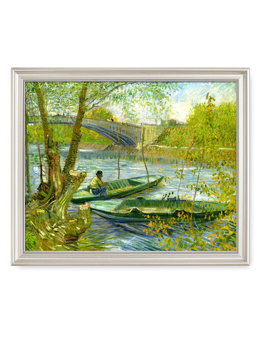 DECORARTS - Fishermen and Boats from The Pont De Clichy, Vincent Van Gogh Art Reproduction. Giclee Print& Framed Art for Wall Decor. 20x16, Framed Size: 23x19