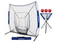 PowerNet DLX Combo 6 Piece Set for Baseball Softball | 7x7 Practice Net Bundle w/Strike Zone, Ball Caddy + 3 Weighted Training Balls | Team or Solo Training | Hitting & Throwing