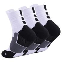 Elite Basketball Socks, Cushioned Athletic Sports Crew Socks for Men Boy Women Girl