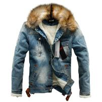 Sun Lorence Men's Winter Fleece Lined Fur Collar Button Down Patch Denim Jacket Coats