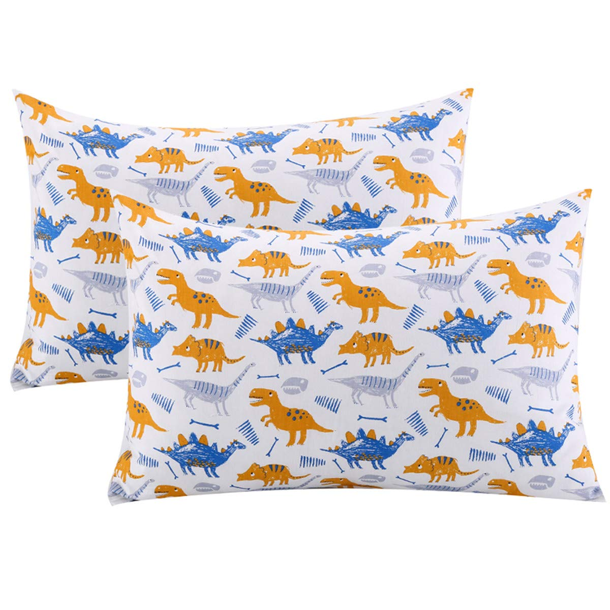 UOMNY Kids Toddler Pillowcases 2 Pack 100% Cotton Pillow Cover Pillowslip Case Fits Pillows sizesd 13 x 18 or 12x 16 for Kids Bedding Pillow Cover Baby Pillow Cases Dinosaur Pattern