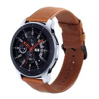 Galaxy Watch 46mm Bands, Gear S3 Bands, KADES 22mm Leather Replacement Strap with Quick Release Pin Compatible for Smart Watch, Small, Brown with Black Clasp