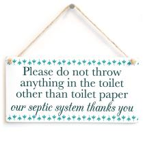 "Meijiafei Please do not Throw Anything in The Toilet Other Than Toilet Paper - Septic Tank Notice Door Sign for Bathroom Or Toilet 10""x5"""