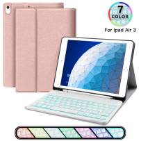 iPad Keyboard Case for iPad Pro 10.5, JUQITECH Smart Case with Backlit Keyboard for iPad Air 3 10.5, iPad 3rd Gen Detachable Wireless Rechargeable Back lit Keyboard Cover with Pencil Holder, Rose Gold