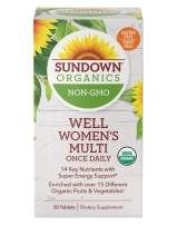 Organic Multivitamin for Women by Sundown, with Vitamins C, D3, and B, Non-GMOˆ, Free of Gluten, Dairy, Artificial Flavors, Once Daily, 30 Tablets