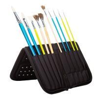MEEDEN 15 X 10.5 Inch Mesh Paint Brushes Case Zippered Brush Holder, Long Handle, Black