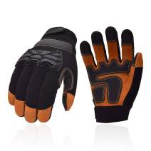Vgo Premium Soft Genuine Deerskin Split Leather Touchscreen Anti-Vibration Medium Duty Work Gloves for Construction, Rigger Glove(Size M, Black, DB9703)