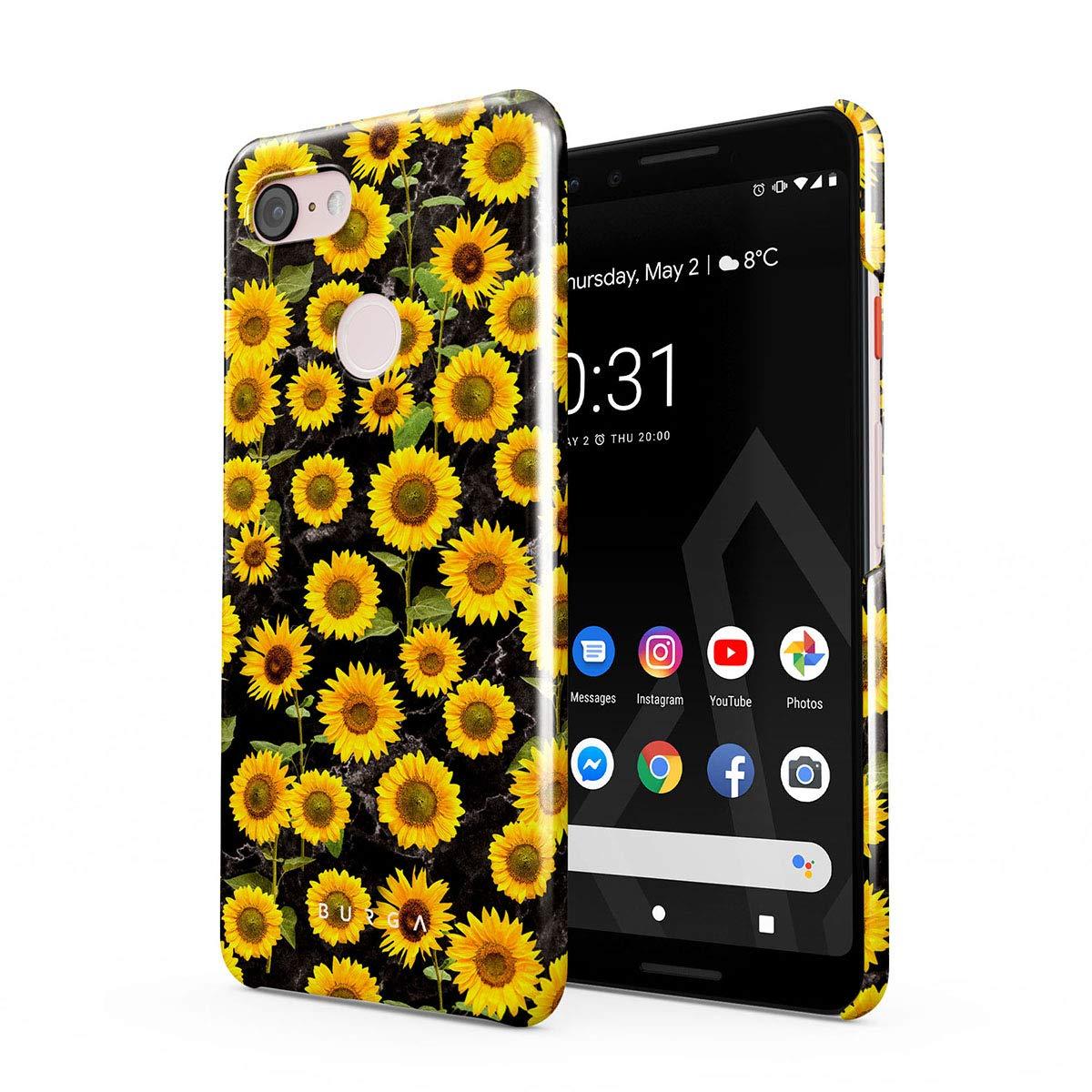 BURGA Phone Case Compatible with Google Pixel 3 - Yellow Sunflowers Vinatge Flowers Floral Print Pattern Fashion Designer Cute Case for Women Thin Design Durable Hard Plastic Protective Case