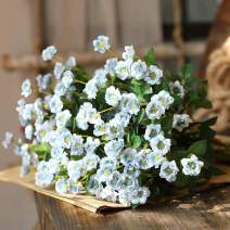Nubry 4pcs Artificial Wildflowers Lifelike Fake Mini Rose Flower for Home Wedding Garden Party Décor(Blue)