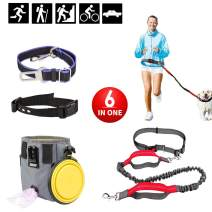Raphycool Dog Leash Set Dual-Handle with Bungee, Adjustable Dog Collar, Lab Seat Belt & Collapsible Bowl, Dog Treat Training Pouch with Poop Bag Dispenser 6 in 1 Pet Set for 20+ LB Dog