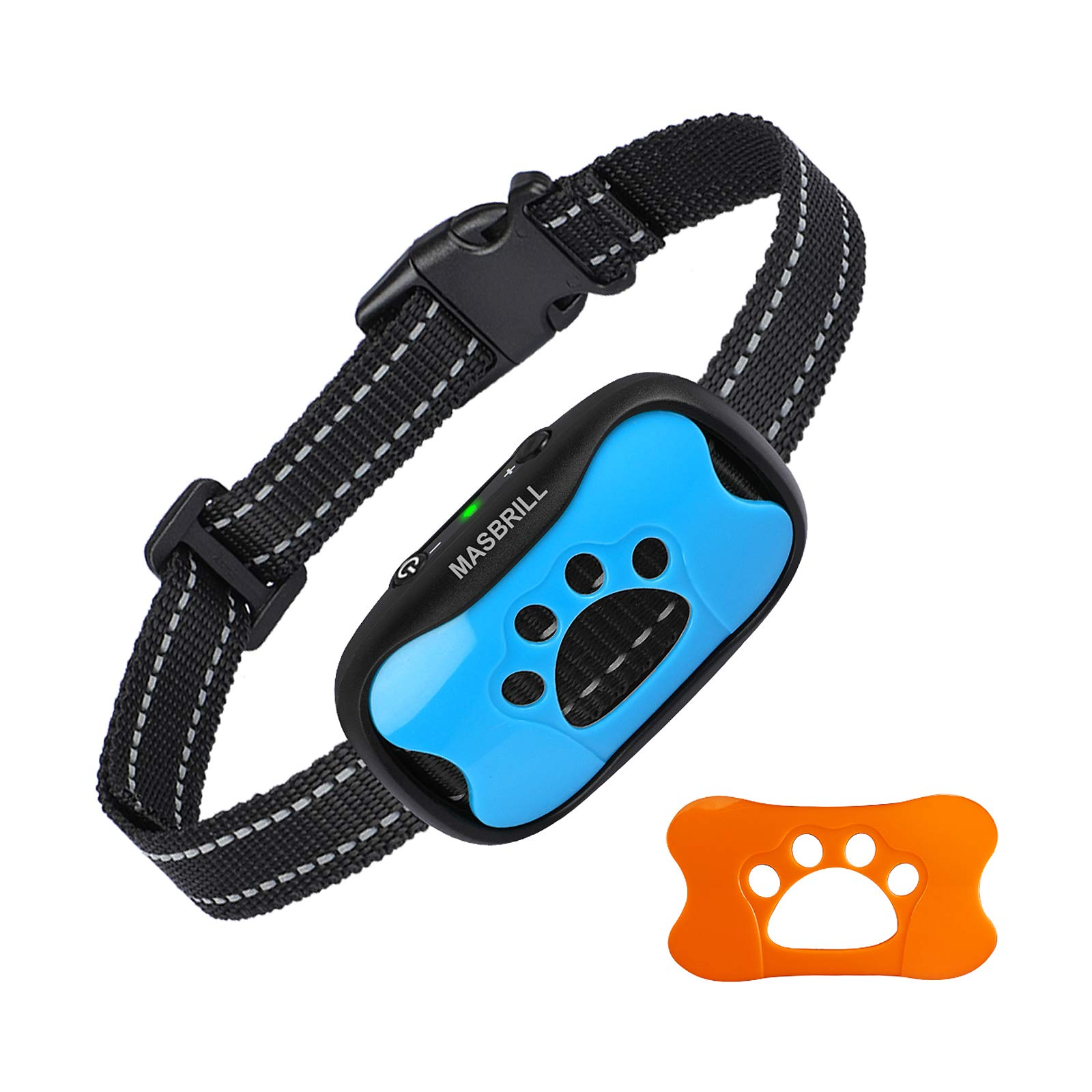 MASBRILL Rechargeable Dog No Bark Collar for Medium-Sized and Large Dog, No Shock Barking Collar (Blue, M)