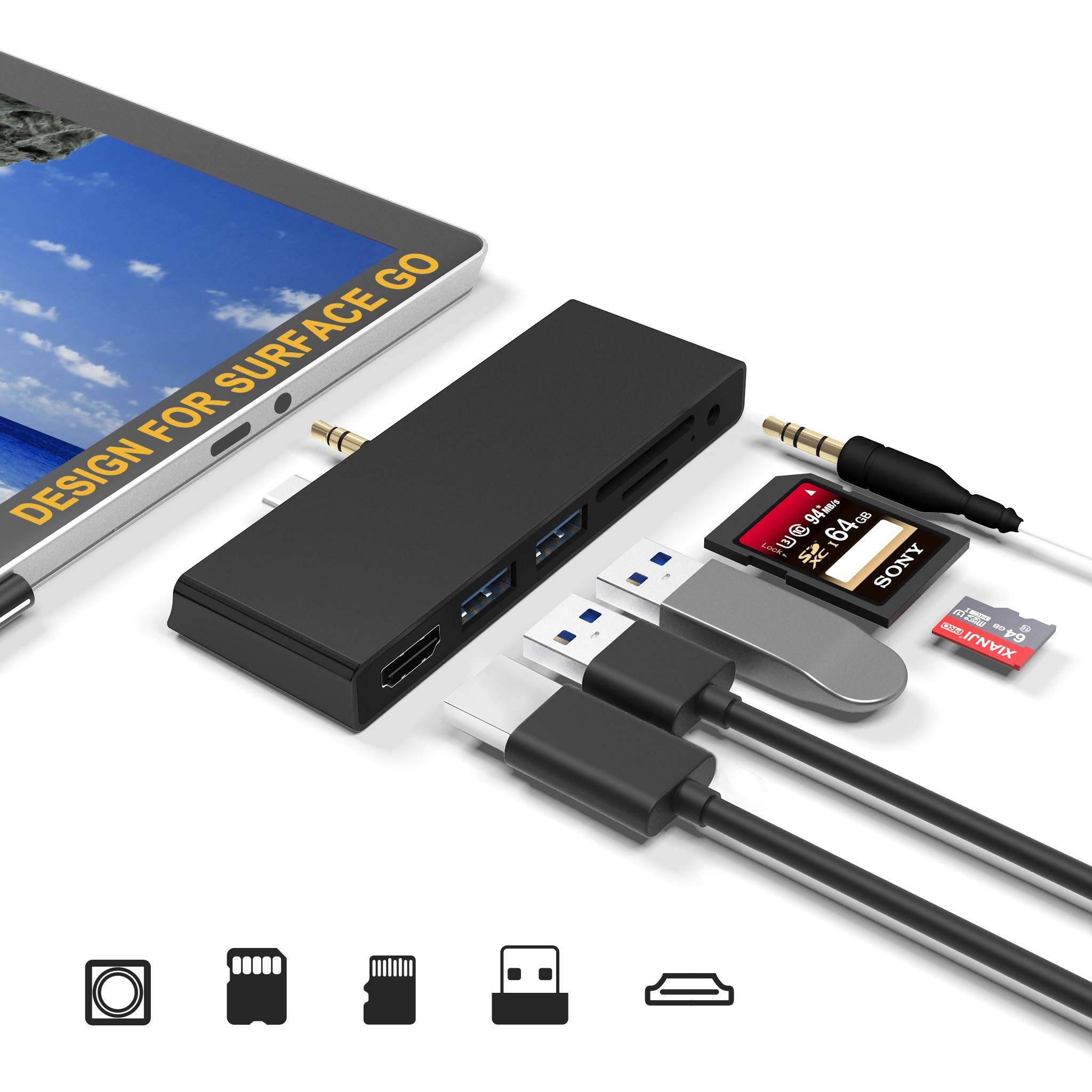 Surface Go/Go 2 USB C Hub Docking Station,7-in-2 Surface Go/Go 2 Adapter,Surface Go Accessories with 4K HDMI, 2 USB 3.0 Ports, 3.5mm Earphones Jack, SD/TF Card Slot