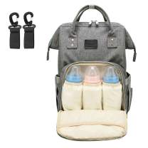 Diaper Bag Backpack, Large Waterproof Multi-Function Travel Backpack, Baby Nappy Bag Expandable Design with Stroller Straps, Thermal Insulated Bottle Pockets and Wet Cloth Pocket (Grey-Large)