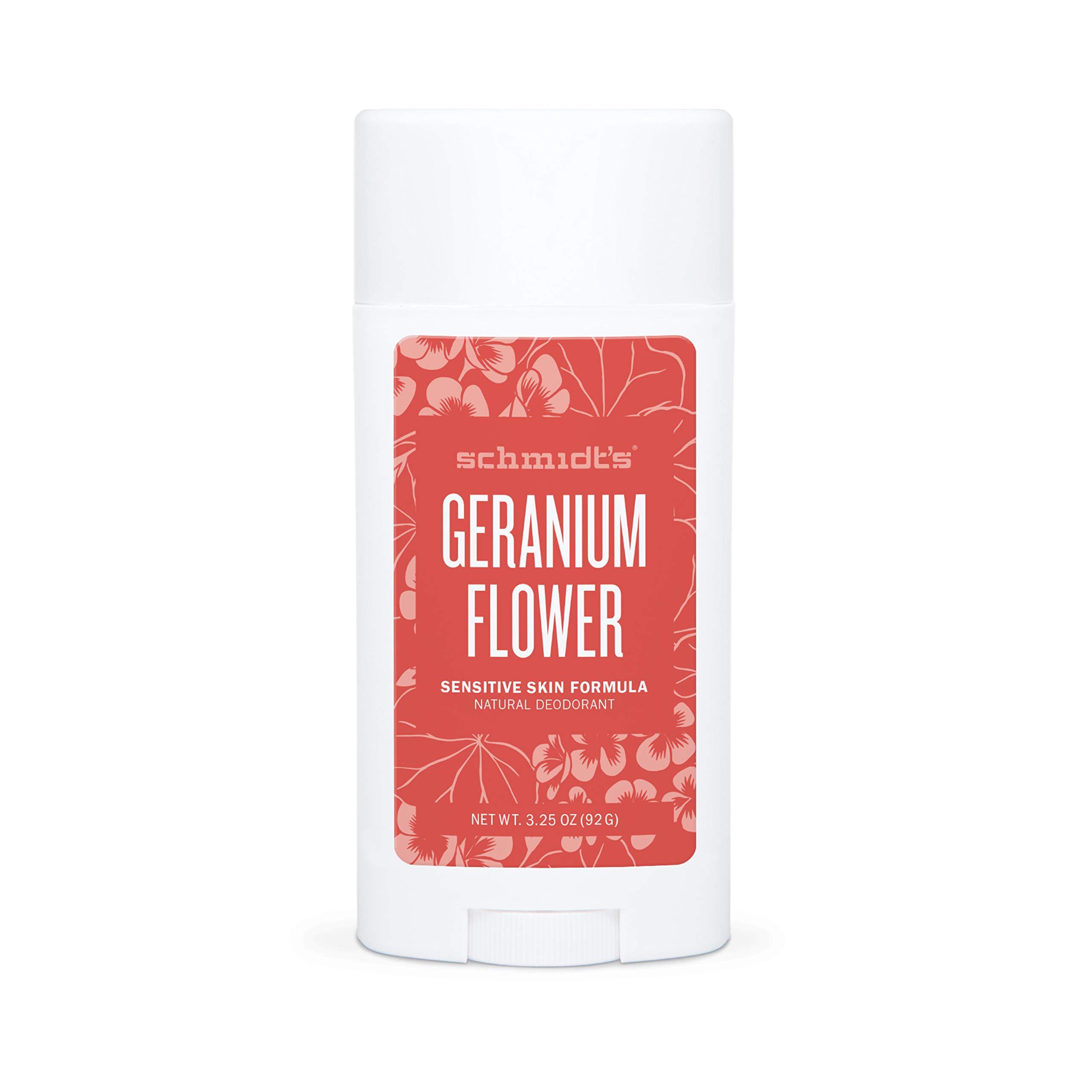 Schmidt's Aluminum Free Sensitive Skin Baking Soda-Free Natural Deodorant for Men and Women, 24 Hour Odor Protection and Freshness Geranium Flower Vegan, Certified Cruelty Free 3.25 OZ