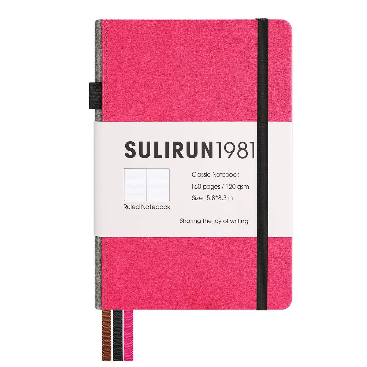 Journal Notebook,PU Leather Cover Notebook for men women student,Pocket journal For School Office work bussiness,5.8 X 8.3 Inches,160 Pages, Thick Paper With Inner Pocket (Rose Red)