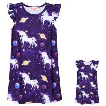 QPANCY Matching 18 inch Dolls&Girls Nightgowns Unicorn Pajamas Night Dresses