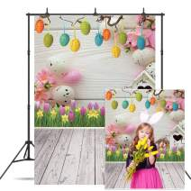 Dudaacvt Easter Backdrop 5x7ft Vinyl Spring Flowers Eggs Wood Floor Background for Children Kids Adult Portraits Photo Backdrop Studio Props D409