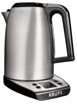 KRUPS Electric Kettle, Instant Coffee, Adjustable Temperature, Stainless Steel Housing, 1.7 Liter, Silver