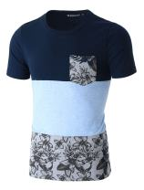 uxcell Men Summer Floral Print Panel Color Block Crew Neck T Shirt with Pocket