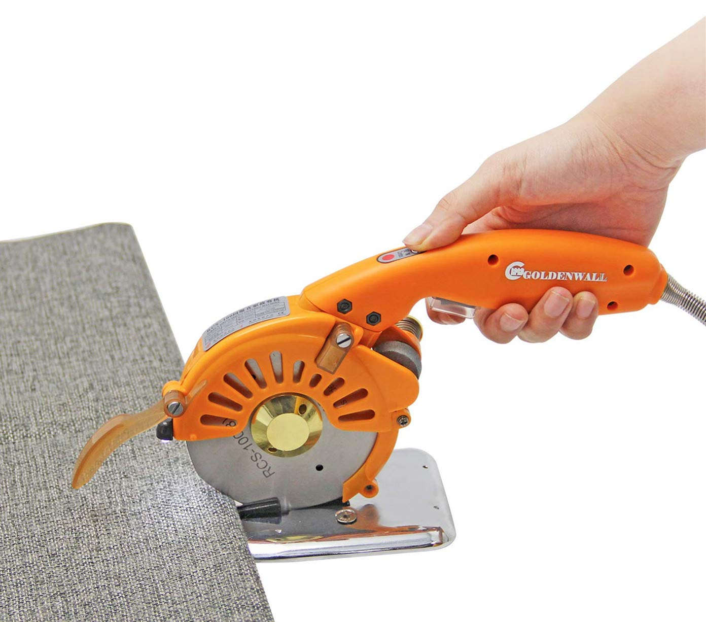 CGOLDENWALL Electric Rotary Fabric Cutter Scissors Cloth Cutting Machine Cloth Cutter Ideal for Multi-Layer Cloth Leather Fabric Paper 4-Inch Round Blade & LED Light (Cutting Range:≤ 27mm)