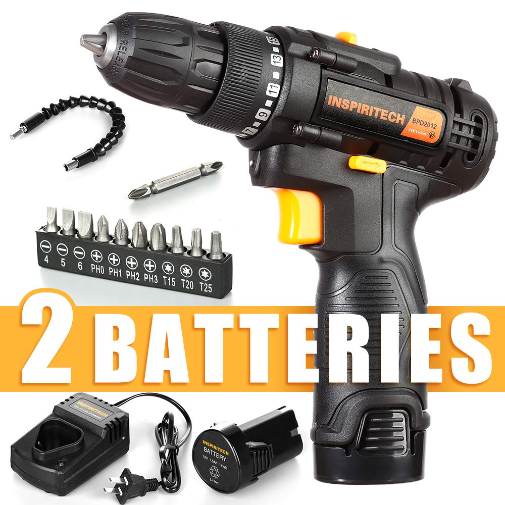Inspiritech 12V Cordless Drill/Driver with 2 Lithium Ion Batteries and Charger,Variable Speed 3/8Inch Keyless Chuck 16 Positions Clutch,Front LED Light,12 Accessories