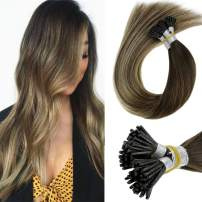 LaaVoo 20 Inch Stick I Tips Brazilian Human Hair Extensions Color #3 Darker Brown to #6 Medium Brown and #24 Golden Blonde 50 Gram Per Package
