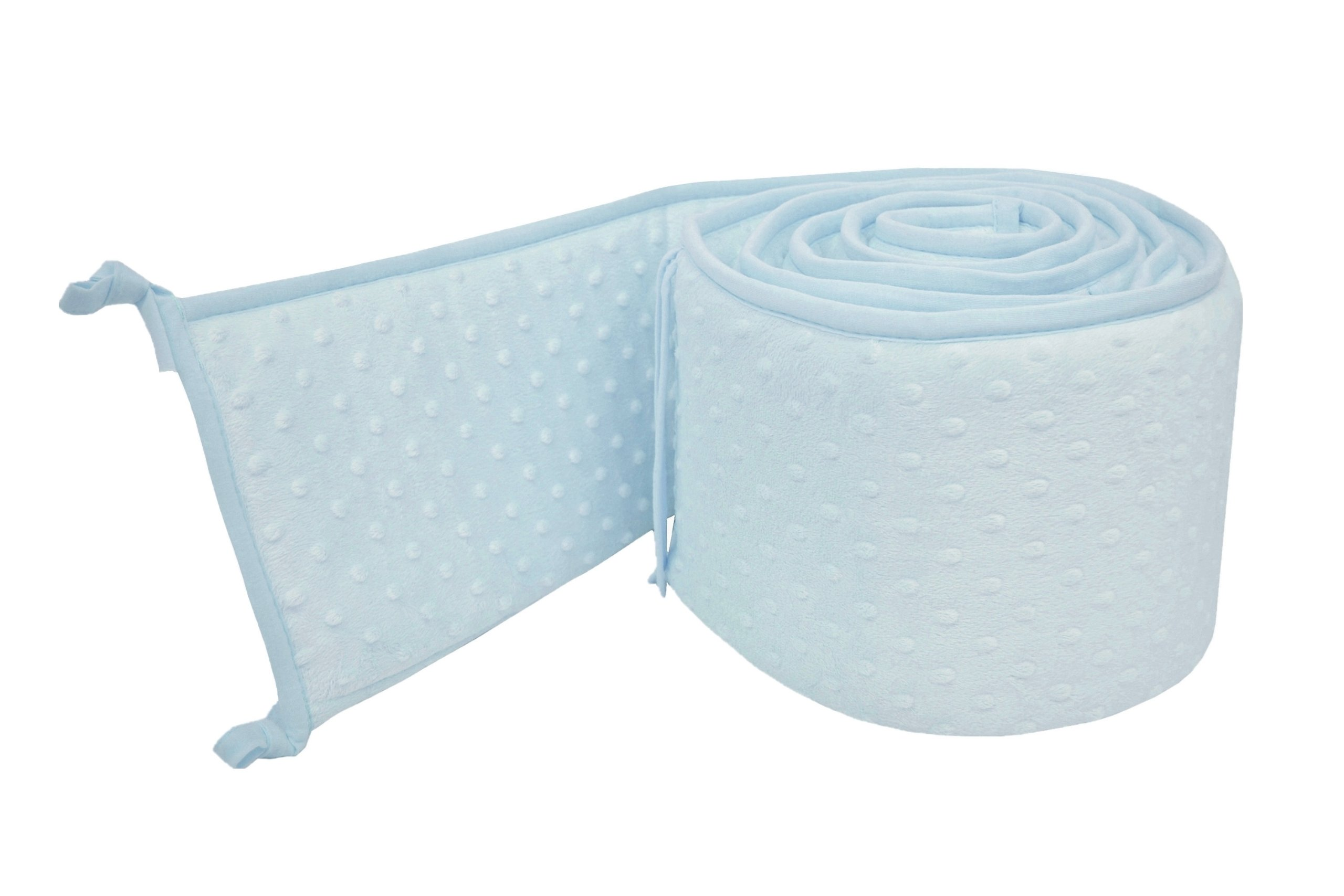 American Baby Company Heavenly Soft Minky Dot Portable and Mini-Crib Bumper, Blue Puff (Not for Crib), for Boys and Girls