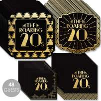 Big Dot of Happiness Roaring 20's with Gold Foil - 2020 Graduation and Prom Party Supplies - 1920s Art Deco Jazz Party Tableware Plates and Napkins - Bundle for 48