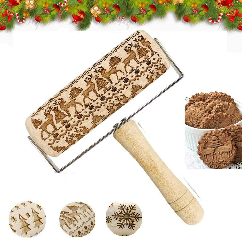 Embossed Rolling Pins Christmas 3D Hand-held Wooden Hand Grip Engraved Rolling Pin For Cookies With Elk Reindeer Pattern for Baking For kids and Adults