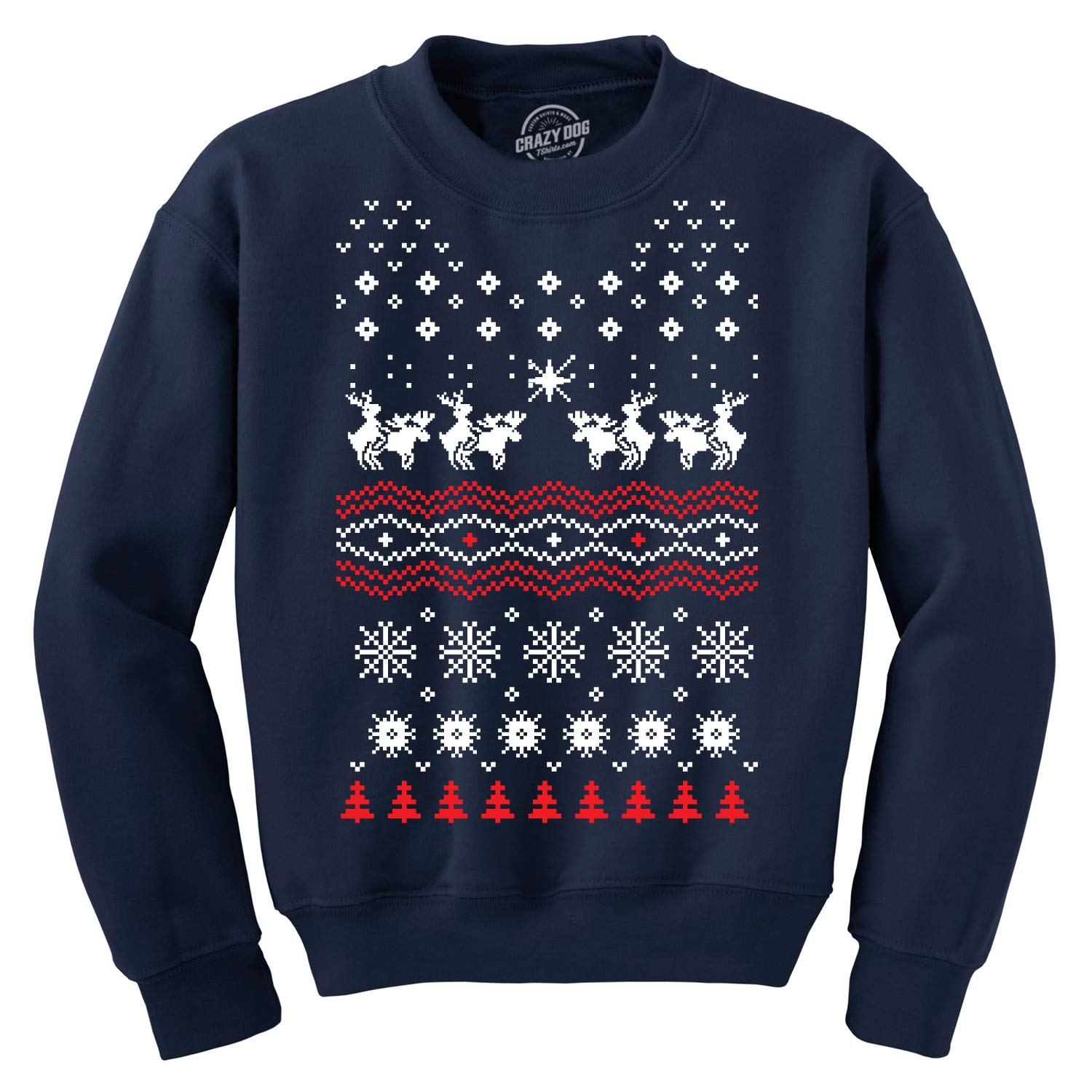 Crazy Dog T-Shirts Humping Moose Funny Ugly Christmas Holiday Xmas Sweatshirt Offensive Party Tee