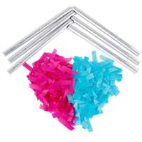 Battife Gender Reveal Confetti Sticks 3Pink+3Blue Biodegradable Tissue Paper Confetti Flick Flutter Wands for Baby Shower Boy or Girl Party Decorations Supplies,14 Inch