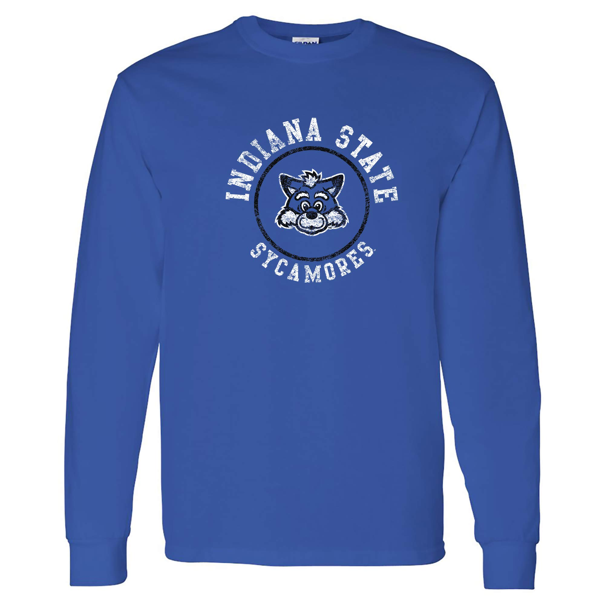 NCAA Distressed Circle Logo, Team Color Long Sleeve, College, University