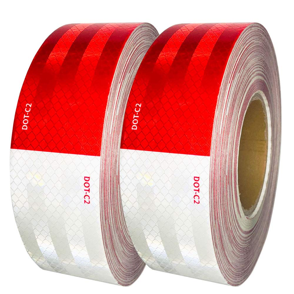 Dot-C2 Red/White Reflective Safety Tape - for Vehicles,Trailers,Boats,Signs (2 In x 150 Ft (2 Pack))