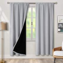 BGment Thermal Insulated 100% Blackout Curtains for Bedroom with Black Liner, Double Layer Full Room Darkening Noise Reducing Rod Pocket Curtain (42 x 84 Inch, Light Grey, 2 Panels)