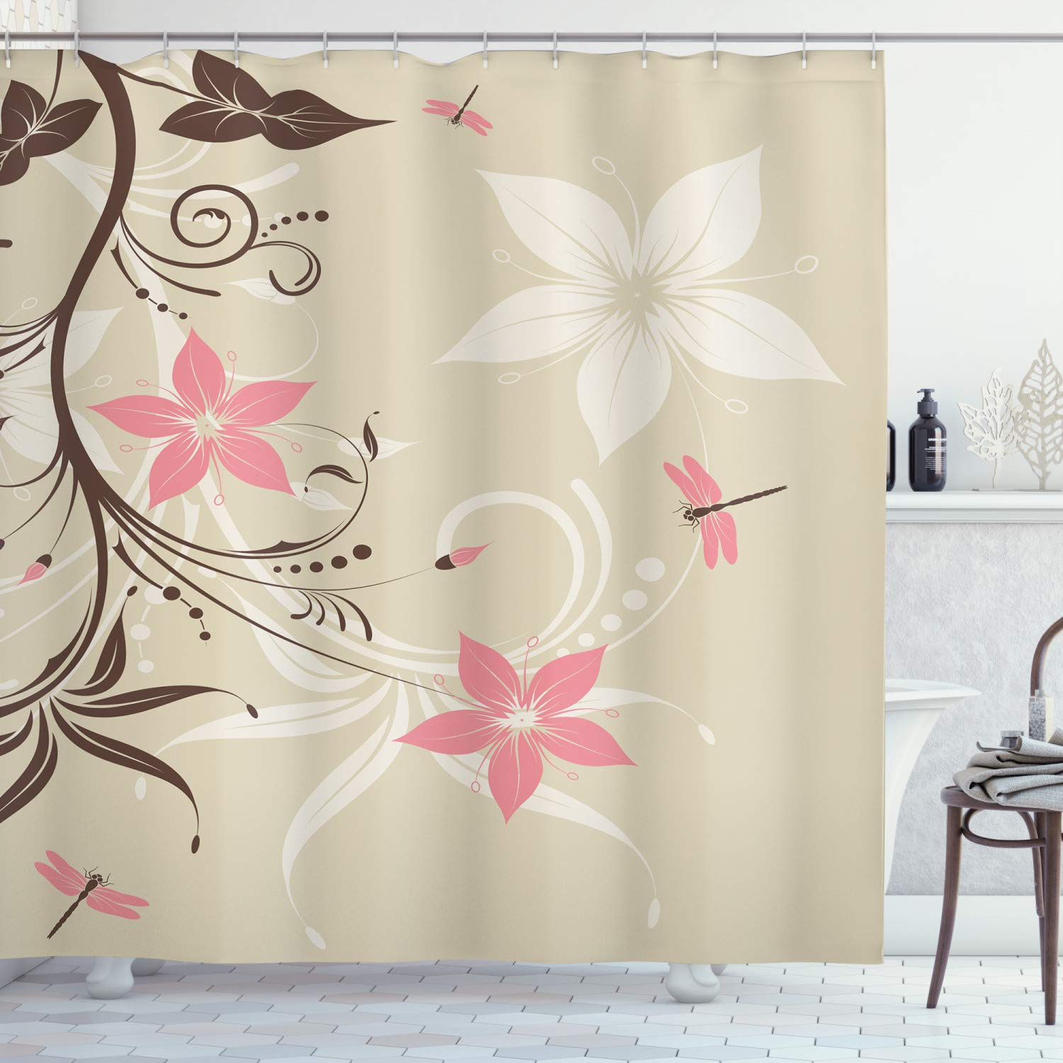 """Ambesonne Dragonfly Shower Curtain, Floral Background with Dragonflies and Spiral Fashioned Foliage Bud Elements Print, Cloth Fabric Bathroom Decor Set with Hooks, 70"""" Long, Brown Tan"""