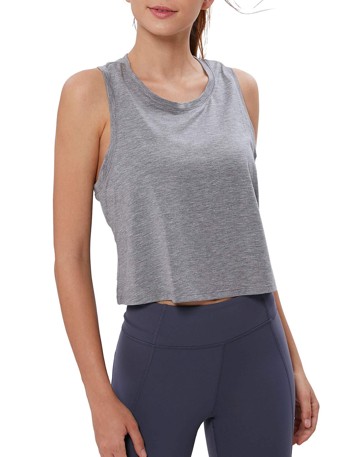 Women Workout Tank Top Loose Fit Under Belly Button Racerback Muscle Crop Tanks for Teenage Girls Xinsilu