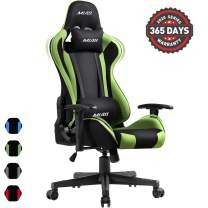 Muzii PC Gaming Chair for Pro,4-Color Choice Breathable SOFTKNIT FABRIC Racing Style Ergonomic Adjustable Computer Chair for Office or Game with Headrest and Lumbar Pillow for Adults and Teens (GREEN)