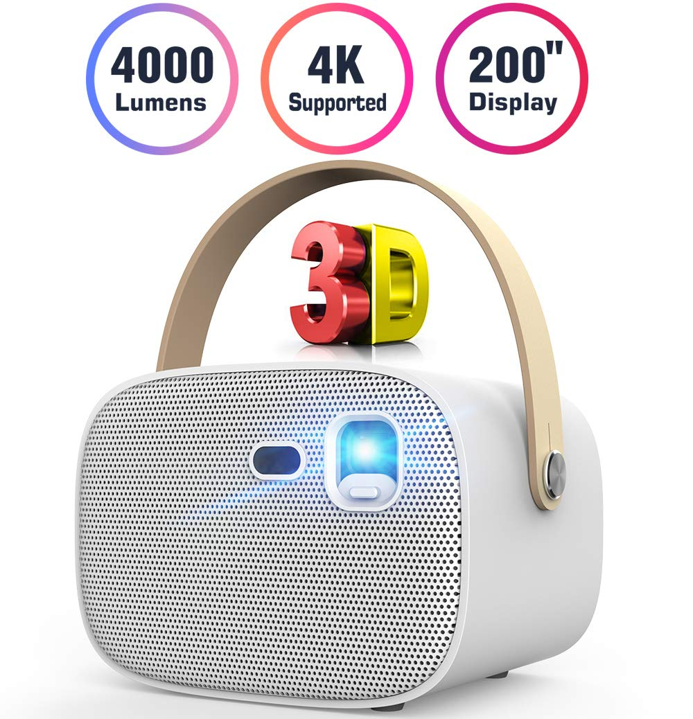"Mini Projector 4000 Lumens 3D Portable DLP Video Projector ±40° Keystone Built in Stereo Speaker Support 4K HDMI USB iPhone PC Bluetooth PS4 200"" Home Theater Outdoor Gaming Wireless Screen Sharing"